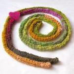 Green Skinny scarf - spring bright ..