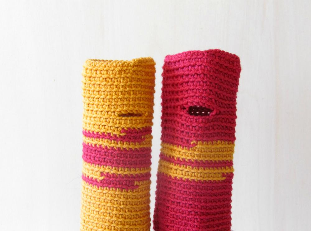Fingerless gloves - wrist warmer - Winter accessories - wool - One of a Kind, raspberry and mustard yellow