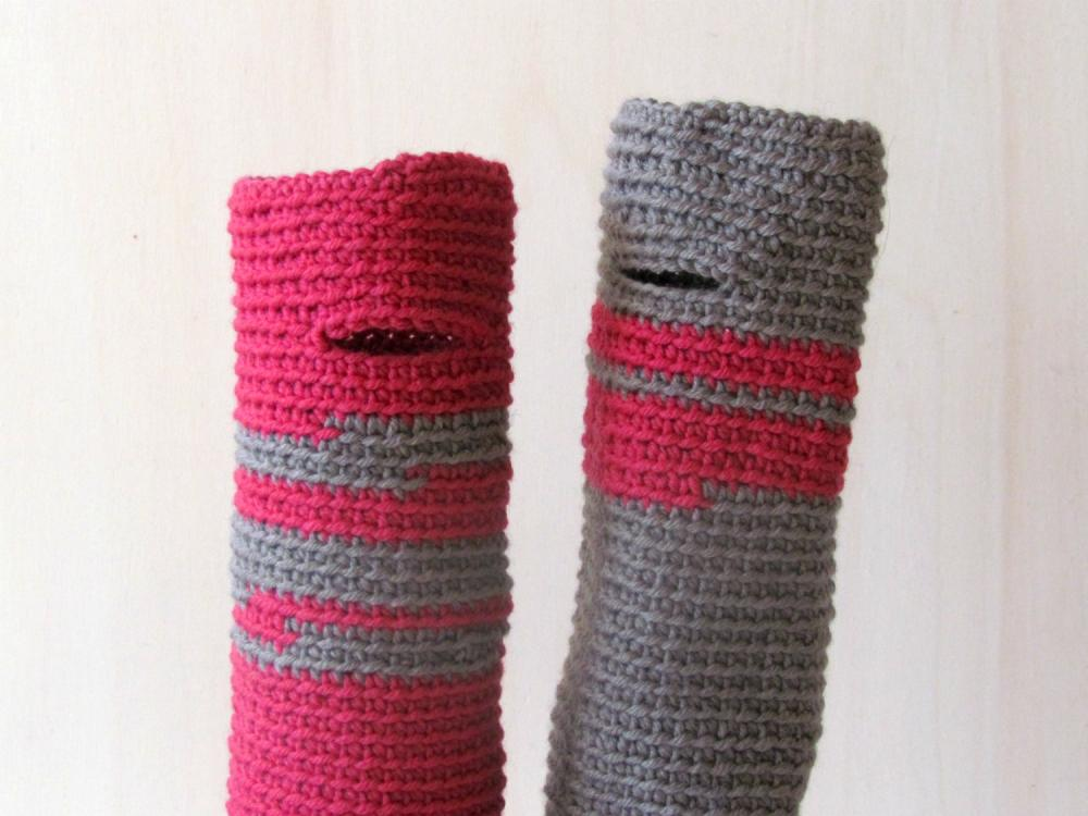 Fingerless gloves - wrist warmer - Winter accessories - wool - One of a Kind, raspberry and grey
