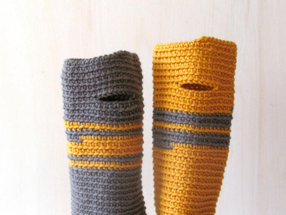 Fingerless gloves - wrist warmer - Winter accessories - wool - One of a Kind, grey and mustard yellow