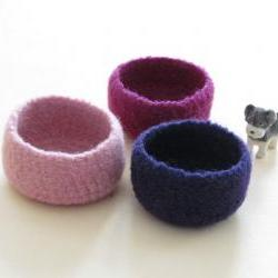 Purple felted bowl / Three little bowls in pink, purple and violet / Cozy gift spring Easter