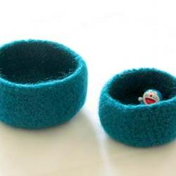 Turquoise felted bowl - peacock nesting bowls - Set of two Cozy gift home decore spring