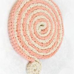Skinny scarf - Crochet necklace - Lollipop colors cotton - peach and cream