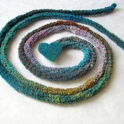Turquoise Skinny scarf - Crochet jewelry - extra long necklace - needle felt brooch - Tropical forest