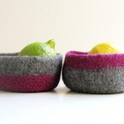 Felted bowls - Organic family - Purple and grey color