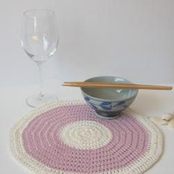 Romantic placemat - Hemp series - Dusty pink and cream white