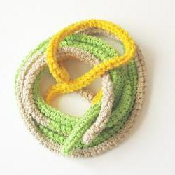Crochet skinny scarf - extra long necklace - bright colors cotton - Natural, green and yellow