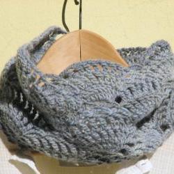 Dusty blue lace cowl - Crochet Neck warmers - Luxury wool -