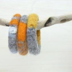 Felted chunky bangles - knitted jewelry - organic wool - winter accessories